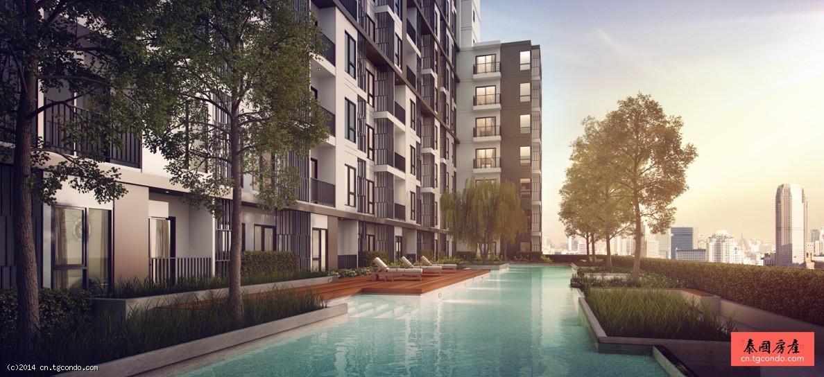 泰国曼谷商务区辉煌公寓转售,游泳池景观 Centric Huai khwang