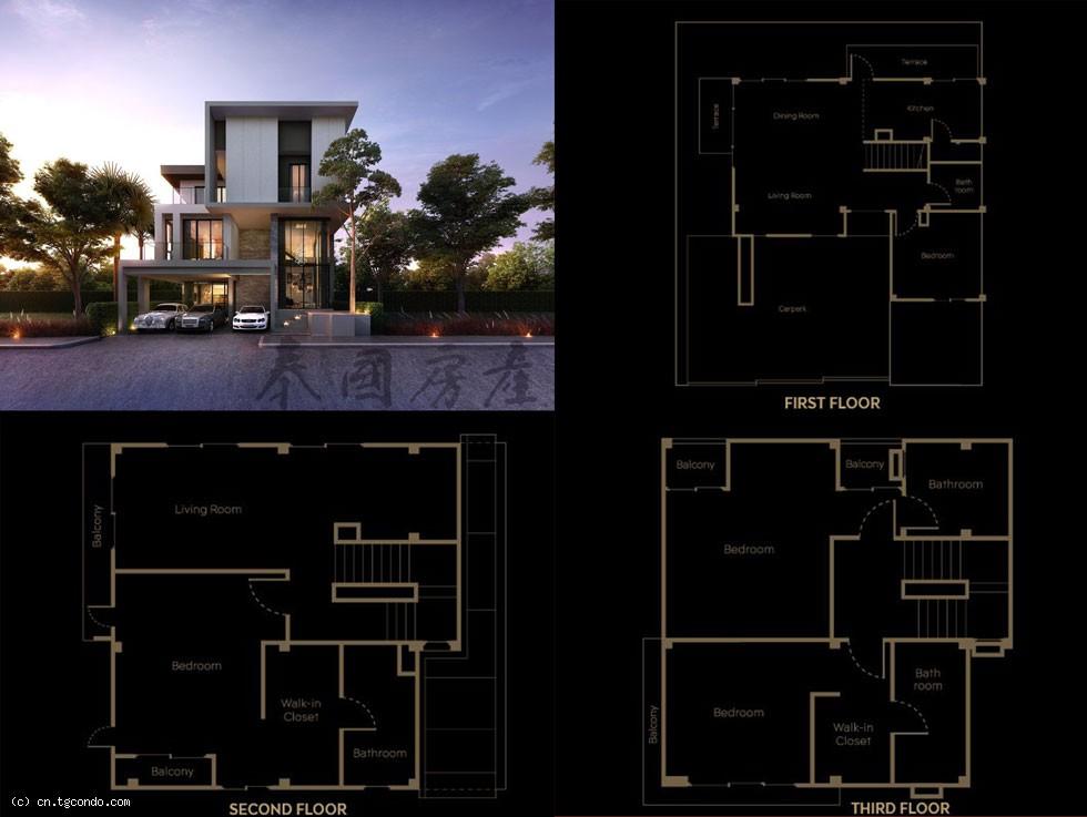 泰国曼谷四房五卫三层大独栋别墅出售