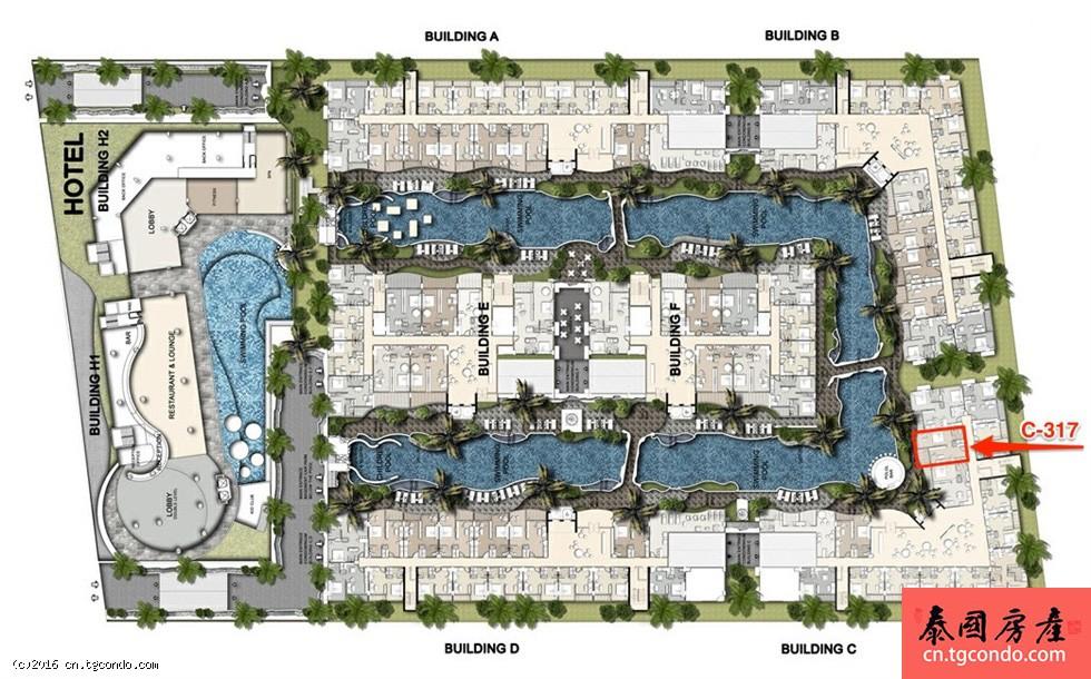 泰国芭提雅Golden Tulip郁金香酒店公寓大面积一房转售