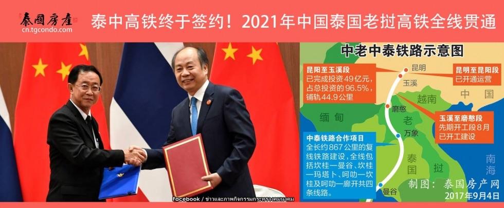 泰中高铁签约现场(泰国交通部长阿空和中国发改委副主任王晓涛)
